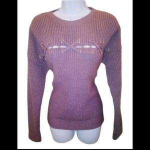 Vintage pull over dusty rose criss cross sweater